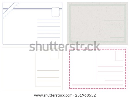 Blank postcard vectors isolated on white in 4 different styles - stock vector
