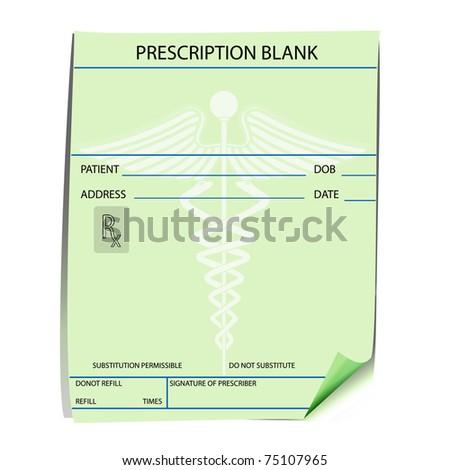 Blank prescription form - vector - stock vector