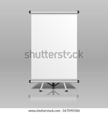 Blank presentation board isolated on grey background. Vector illustration. - stock vector