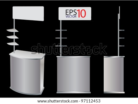 Blank promotion counter display Vector template for design work (3 view) - stock vector