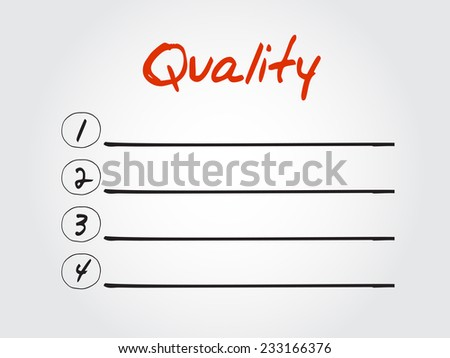 Blank Quality list, vector concept background - stock vector
