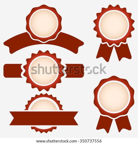 Blank quality red cut labels vector template. - stock vector
