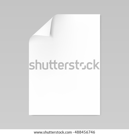 Blank realistic sheet of paper with curled corner mockup