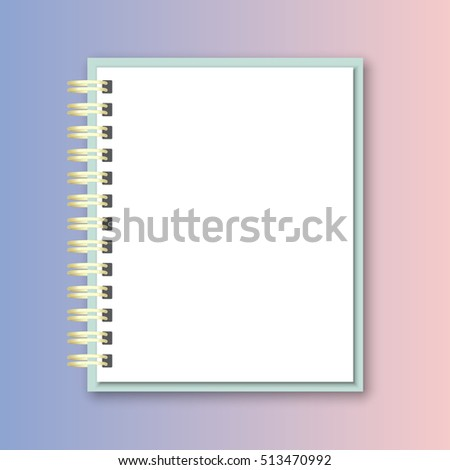 blank realistic spiral notebook notepad on rose quartz and serenity gradient background