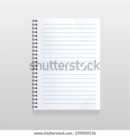 blank realistic spiral notebook with lined sheet. Portrait orientation.