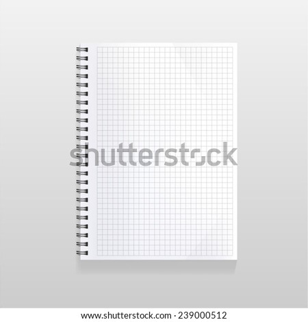 blank realistic spiral notebook with squared sheet. Portrait orientation. - stock vector