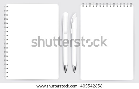 Blank realistic spiral notepad notebook and white pen isolated on white vector. Display Mock up for corporate identity and promotion objects.  - stock vector