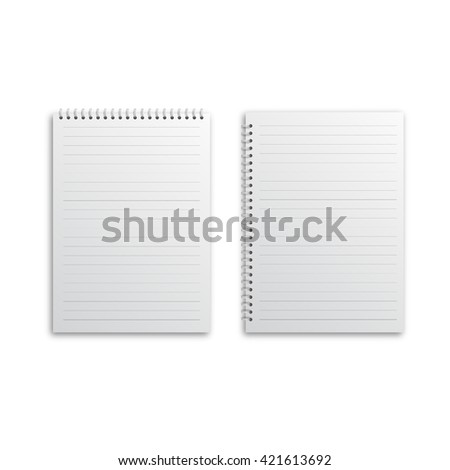 Blank realistic spiral notepad notebook isolated on white - stock vector