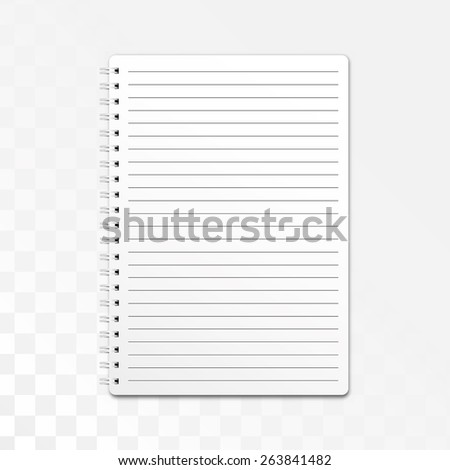 Blank realistic spiral notepad, notebook isolated on white background. Vector