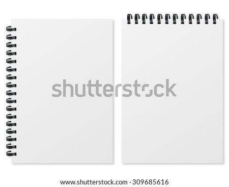 Blank realistic spiral notepad on white background - stock vector