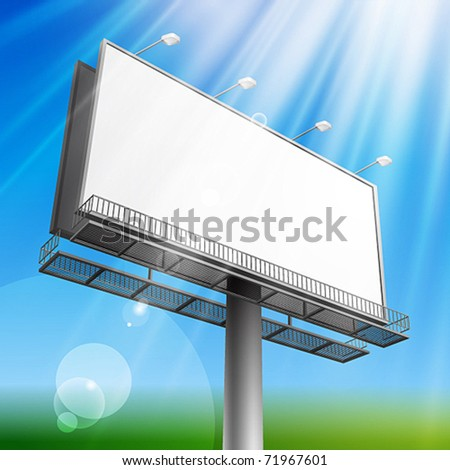 Blank, realistic vector advertising construction on blue sky background - stock vector