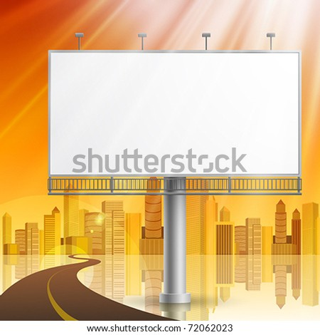 Blank, realistic vector advertising construction on city background - stock vector