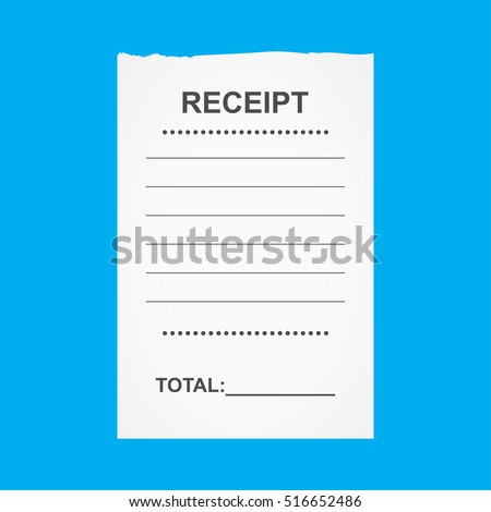 Blank receipt,isolated on blue background,vector illustration