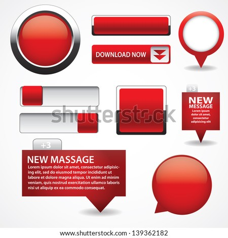 Blank red web buttons for website or app - stock vector