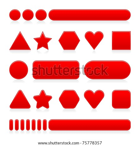 Blank red web 2.0 internet buttons with gray reflection. Colored various forms on white - stock vector