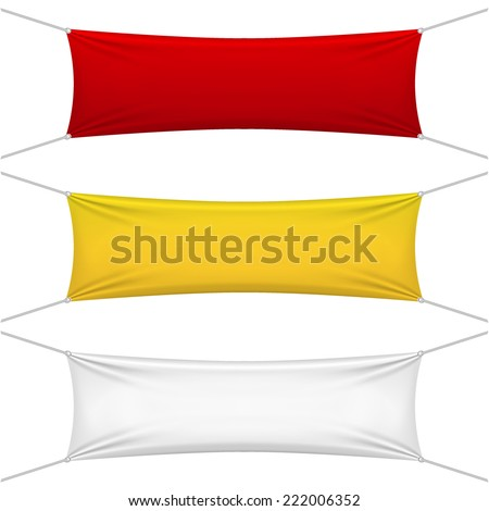 blank red, yellow, white textile banners with copy space suspended by ropes by all four corners and stretched tight hanging suspended against a white background - stock vector