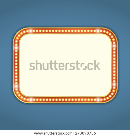 Blank retro banner with lights, vector eps10 illustration - stock vector