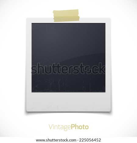 Blank retro photo frame. Vector illustration. - stock vector
