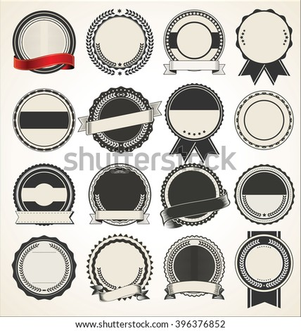 Blank retro vintage badges and labels - stock vector