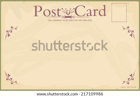 Blank reverse of vintage postcard. Standard size aspect ratio. Vector. No gradients.  - stock vector