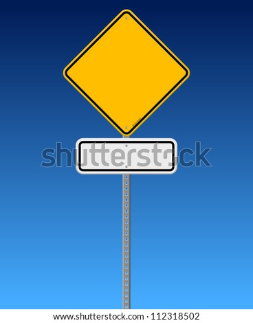 Blank Road Sign on Blue Sky - Diamond Road Sign with White rectangle sign on blue background - stock vector
