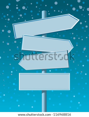 Blank road sign on winter background - stock vector