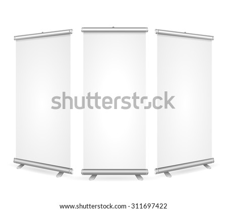 Blank Roll Up Banner 3 Display View Template. Ready for Your Design. Vector illustration