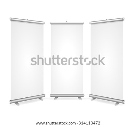 Blank Roll Up Banner 3 Display View Template. Ready for Your Presentations, Demonstrations, Reports. Vector illustration