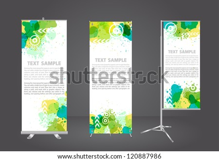 blank roll up banner display with watercolor splatter identity template, Vector illustration - stock vector