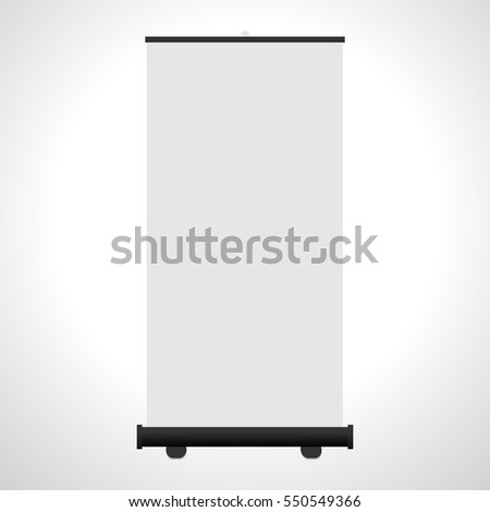 Blank roll-up banner isolated on white background. Vector illustration.