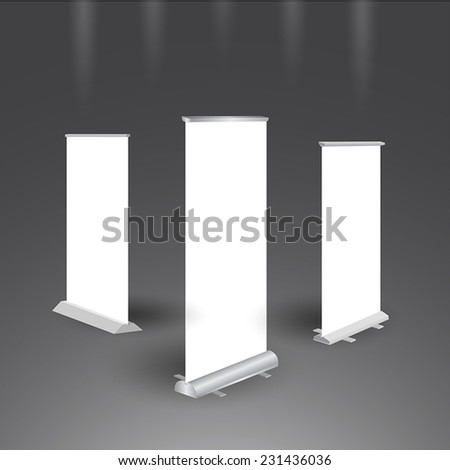 Blank roll up banners isolated on background - stock vector