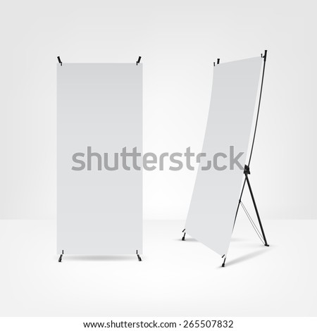 blank roll up banners.Vector illustration. - stock vector