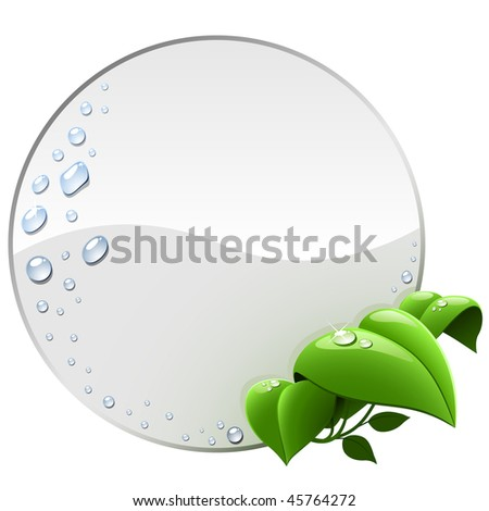 Blank round environmental label with green leaves isolated on white. - stock vector