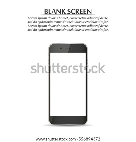 Blank screen. Black smartphone on a white background