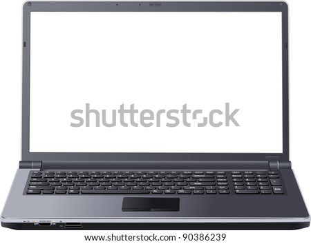 blank screen laptop - stock vector