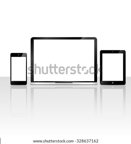 blank screen Vector set of Modern Digital devices