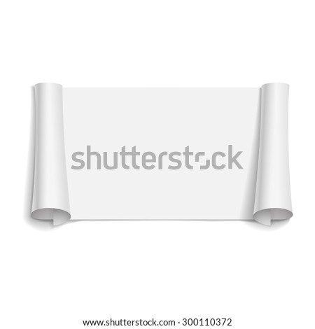blank scrolls of white paper stickers on white background. Vector illustration   - stock vector