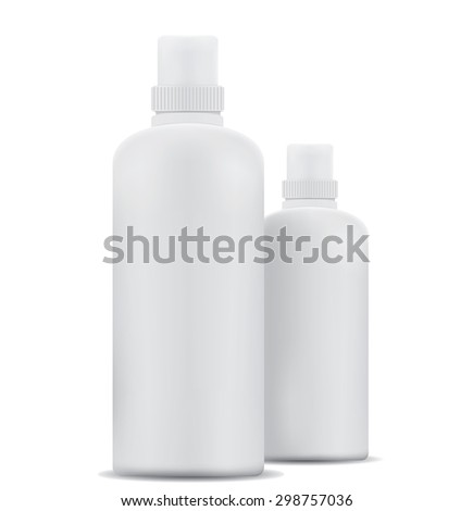 Blank shampoo bottles isolated on white background - stock vector