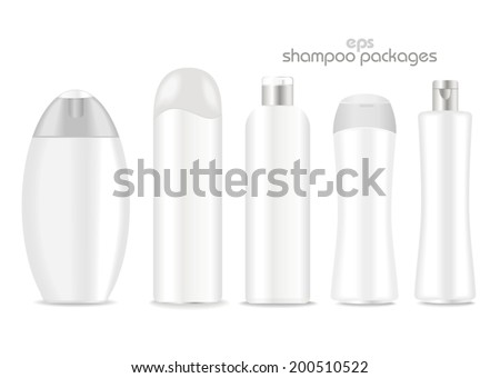 Blank shampoo packages  on white background. White and silver colors. Place for your text. Vector - stock vector