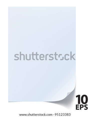 Blank sheet of paper. Paper page with curl. Vector - stock vector