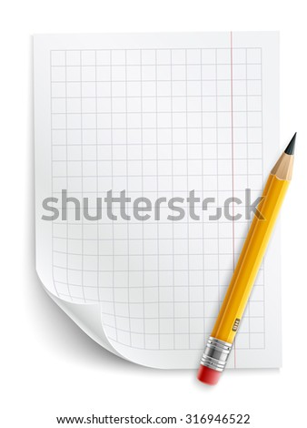 Blank sheet of paper with grid and pencil. Eps10 vector illustration. Isolated on white background - stock vector