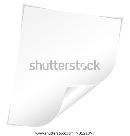 Blank Sheet of White Paper with Curved Corner on white background, template for design - stock vector