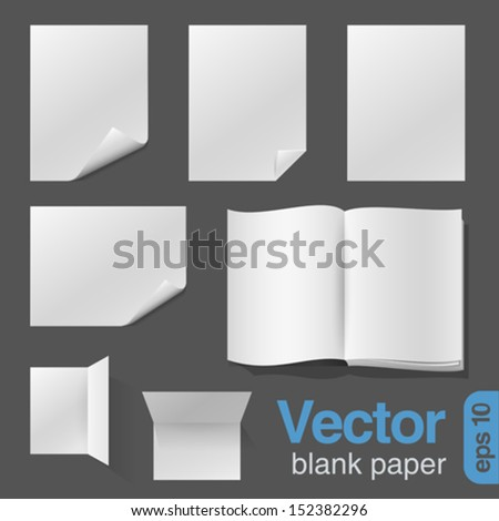 Blank Sheets of Paper & Notebook realistic vector design template. - stock vector