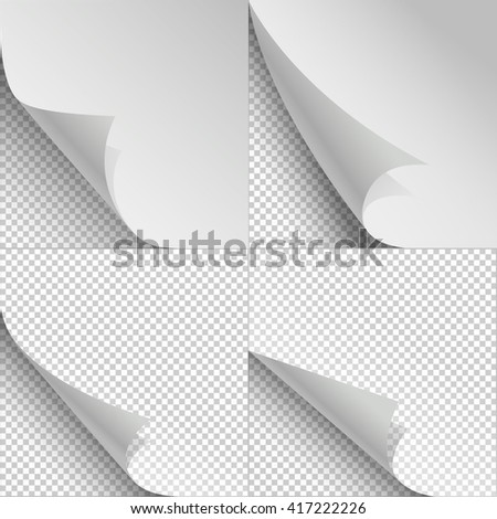 Blank sheets of paper with page curl and shadows. Sheet paper with corner curl, blank paper bent set. Vector illustration - stock vector
