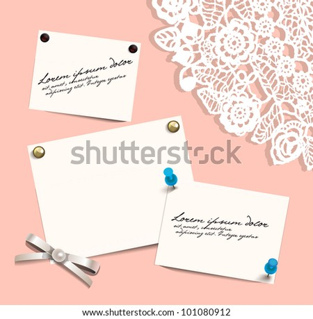 Blank sheets with pushpins on lace background. EPS 10 - stock vector