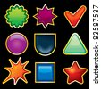 Blank Shiny Colored Templates for your own icons or buttons - stock photo