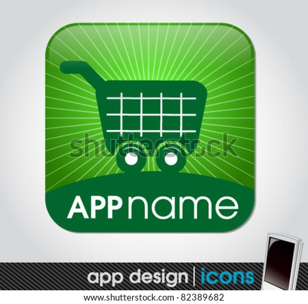 blank shopping app icon for mobile devices - stock vector