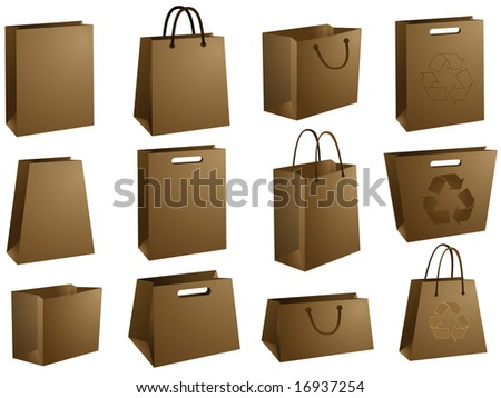 Blank shopping bags - stock vector