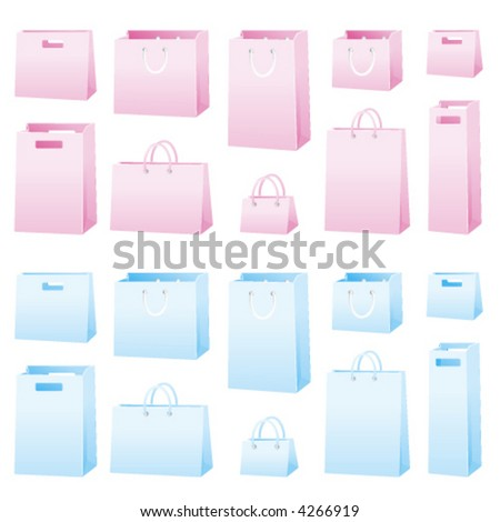 Blank shopping bags in 2 colors. Easy to change colors and modify.