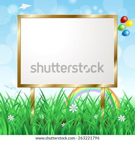 Blank signboard on spring landscape, vector eps10 - stock vector